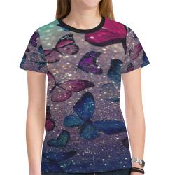 glitter butterfly New All Over Print T-shirt for Women (Model T45)
