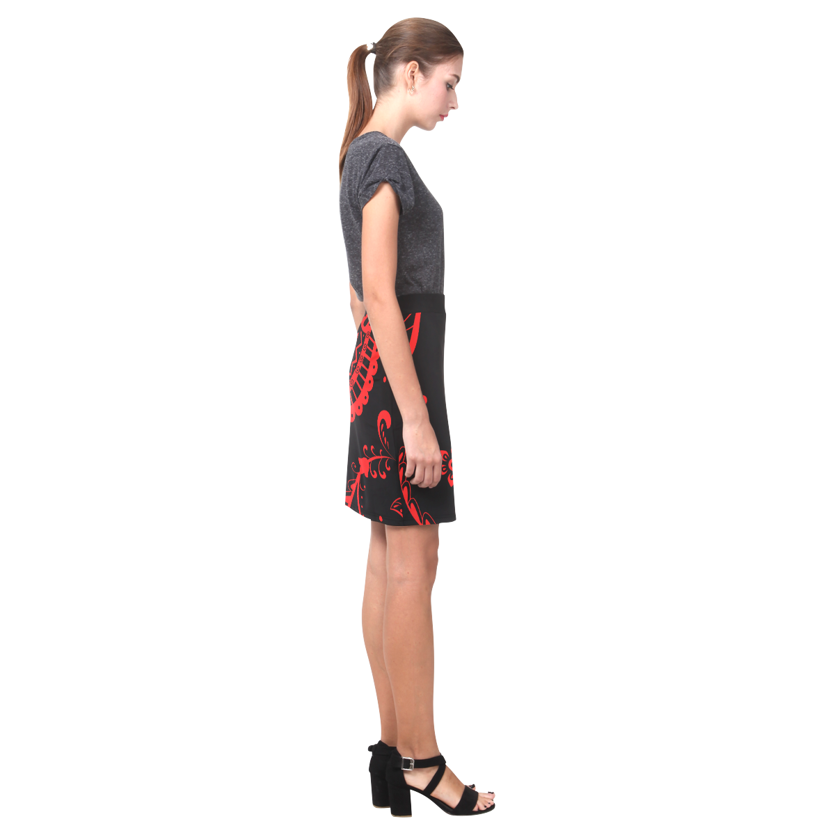 rojo y negro Nemesis Skirt (Model D02)