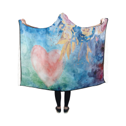 Heart and Flowers - Pink and Blue Hooded Blanket 50''x40''