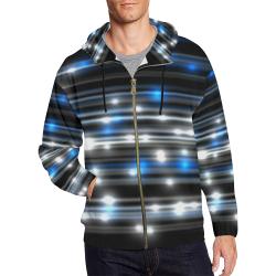 LIT Stripes (Black/White/Bllue) All Over Print Full Zip Hoodie for Men (Model H14)