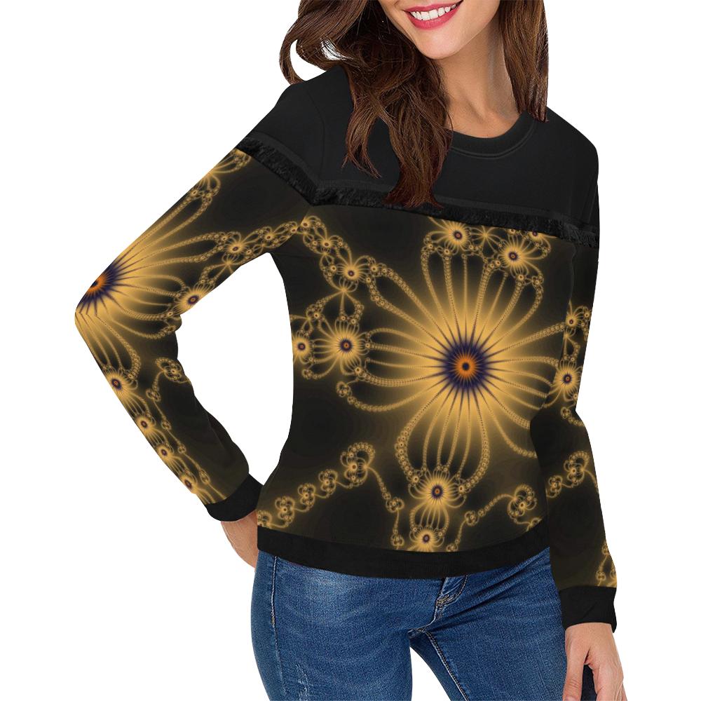 Orange Flower Bloom Women's Fringe Detail Sweatshirt (Model H28)