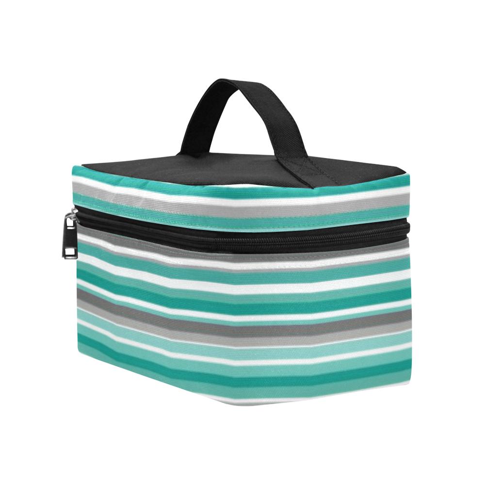 Turquoise Shades Stripe Cosmetic Bag/Large (Model 1658)