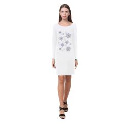 Snowflakes Blue Purple Demeter Long Sleeve Nightdress (Model D03)