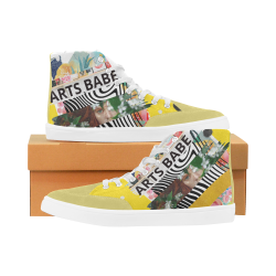 Arts Babe Vibrant Modern fun yellow design by PiccoGrande Herdsman High Top Shoes for Women (Model 038)