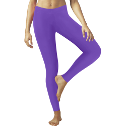 Shiny Purple Metallic Low Rise Leggings (Invisible Stitch) (Model L05)