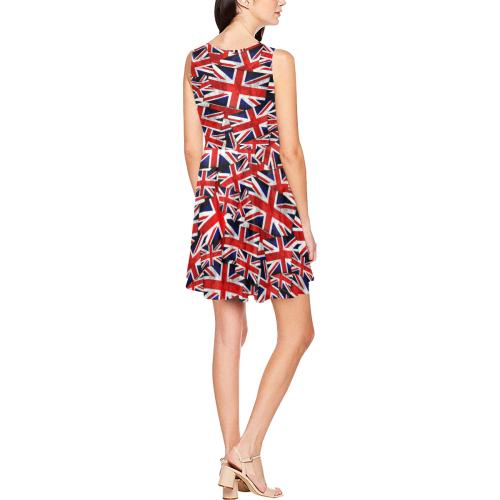 Union Jack British UK Flag Thea Sleeveless Skater Dress(Model D19)