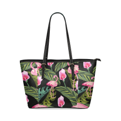 bolso flamencos fondo negro Leather Tote Bag/Small (Model 1640)