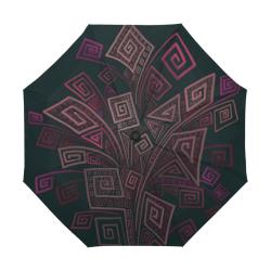 Psychedelic 3D Square Spirals - pink and orange Anti-UV Auto-Foldable Umbrella (U09)