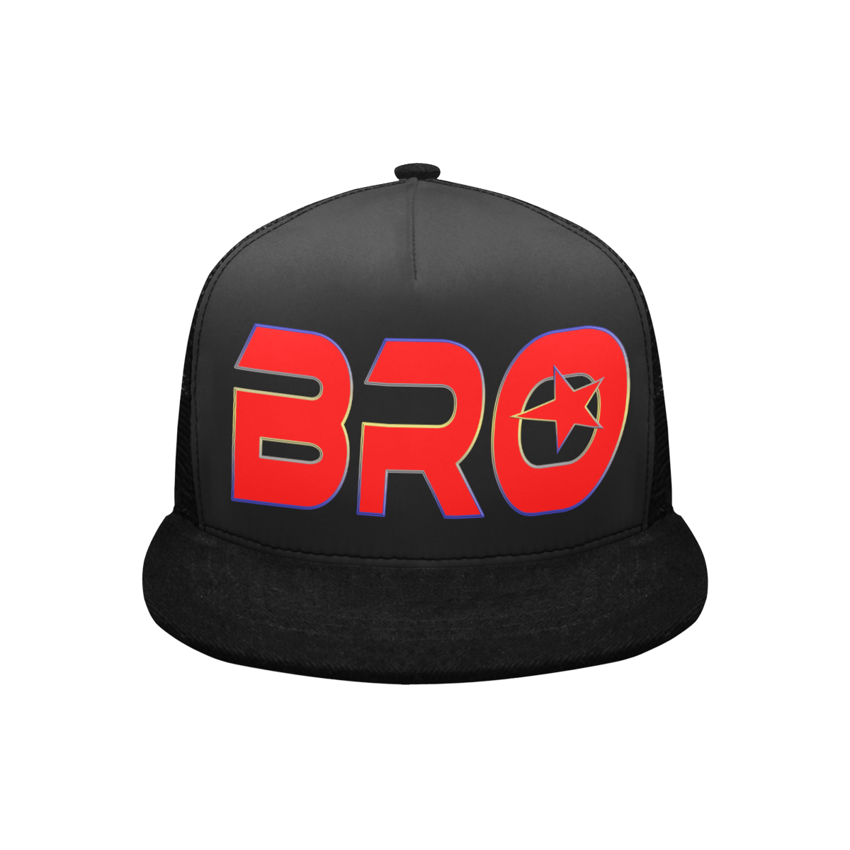BRO RED BASECAP Trucker Hat H (Front Panel Customization)