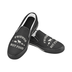 Friends Not Food (Go Vegan) Women's Unusual Slip-on Canvas Shoes (Model 019)