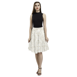 White 3D Geometric Pattern Melete Pleated Midi Skirt (Model D15)