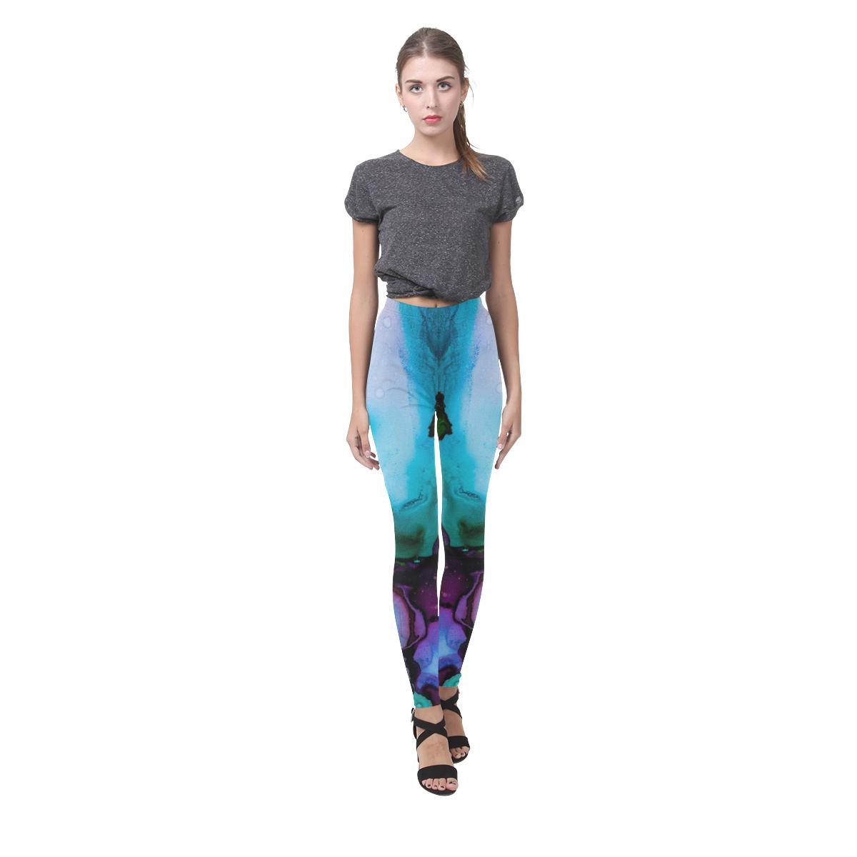 Blue green ink Cassandra Women's Leggings (Model L01)