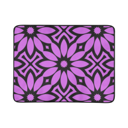 "Purple/Black Flowery Pattern Beach Mat 78""x 60"""