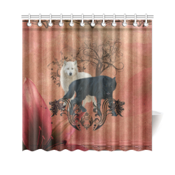 """Awesome black and white wolf Shower Curtain 69""""x70"""""""