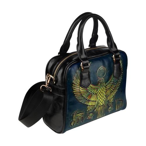 Vintage Gold Leaf Hieroglyphs I Banned Leather Shoulder Handbag (Model 1634)