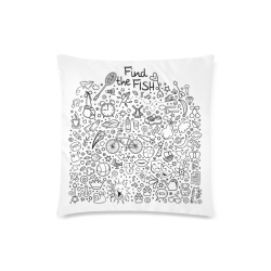 """Picture Search Riddle - Find The Fish 1 Custom Zippered Pillow Case 18""""x18"""" (one side)"""