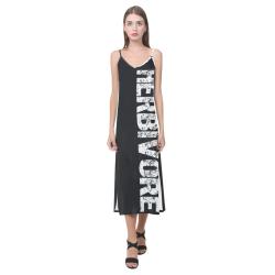 Herbivore (vegan) V-Neck Open Fork Long Dress(Model D18)