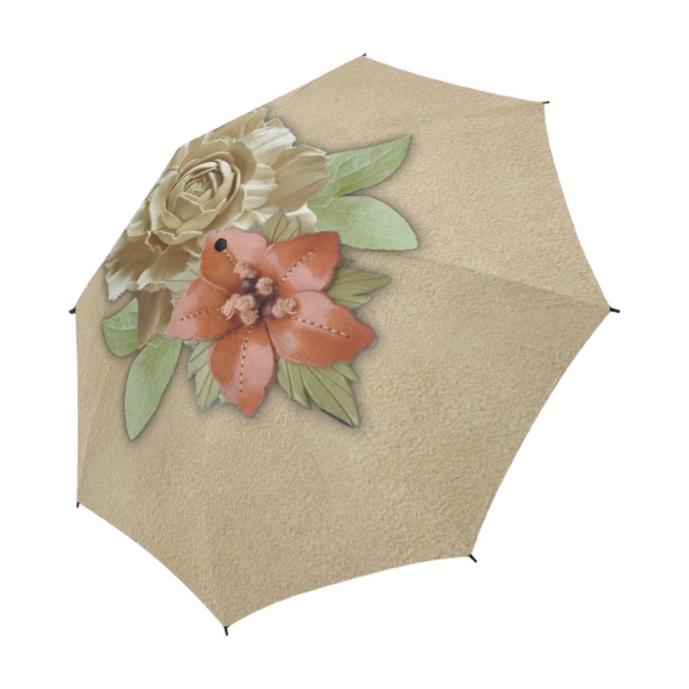 Leather flower decor Semi-Automatic Foldable Umbrella (Model U05)