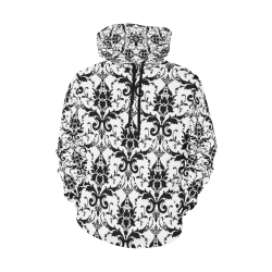 Black&White All Over Print Hoodie for Women (USA Size) (Model H13)