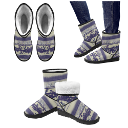 abstract beige blue lines Custom High Top Unisex Snow Boots (Model 047)