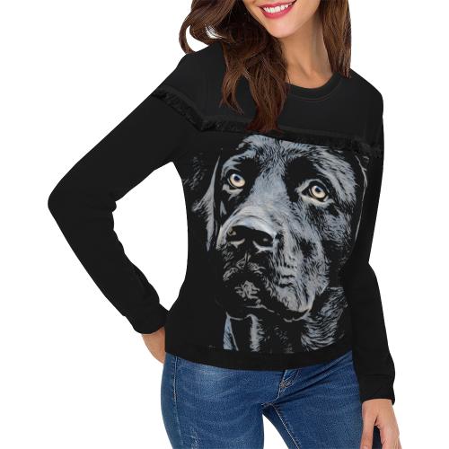 BLACK LABRADOR LADYLIKE Women's Fringe Detail Sweatshirt (Model H28)