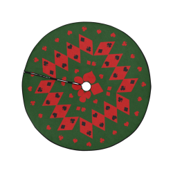 """Black and Red Playing Card Shapes  on Green Christmas Tree Skirt 47"""" x 47"""""""