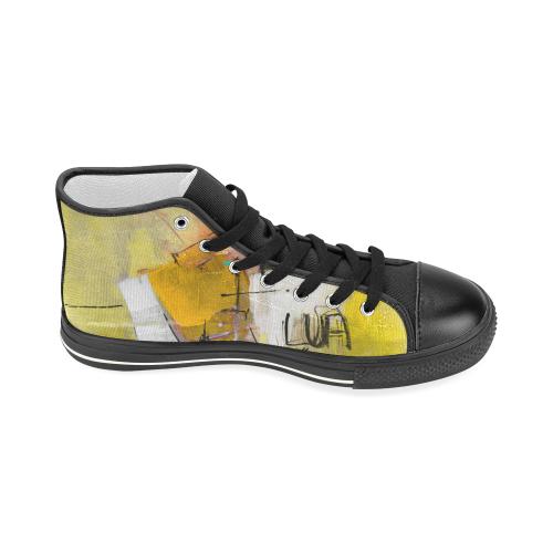 Lua yellow Women's Classic High Top Canvas Shoes (Model 017)