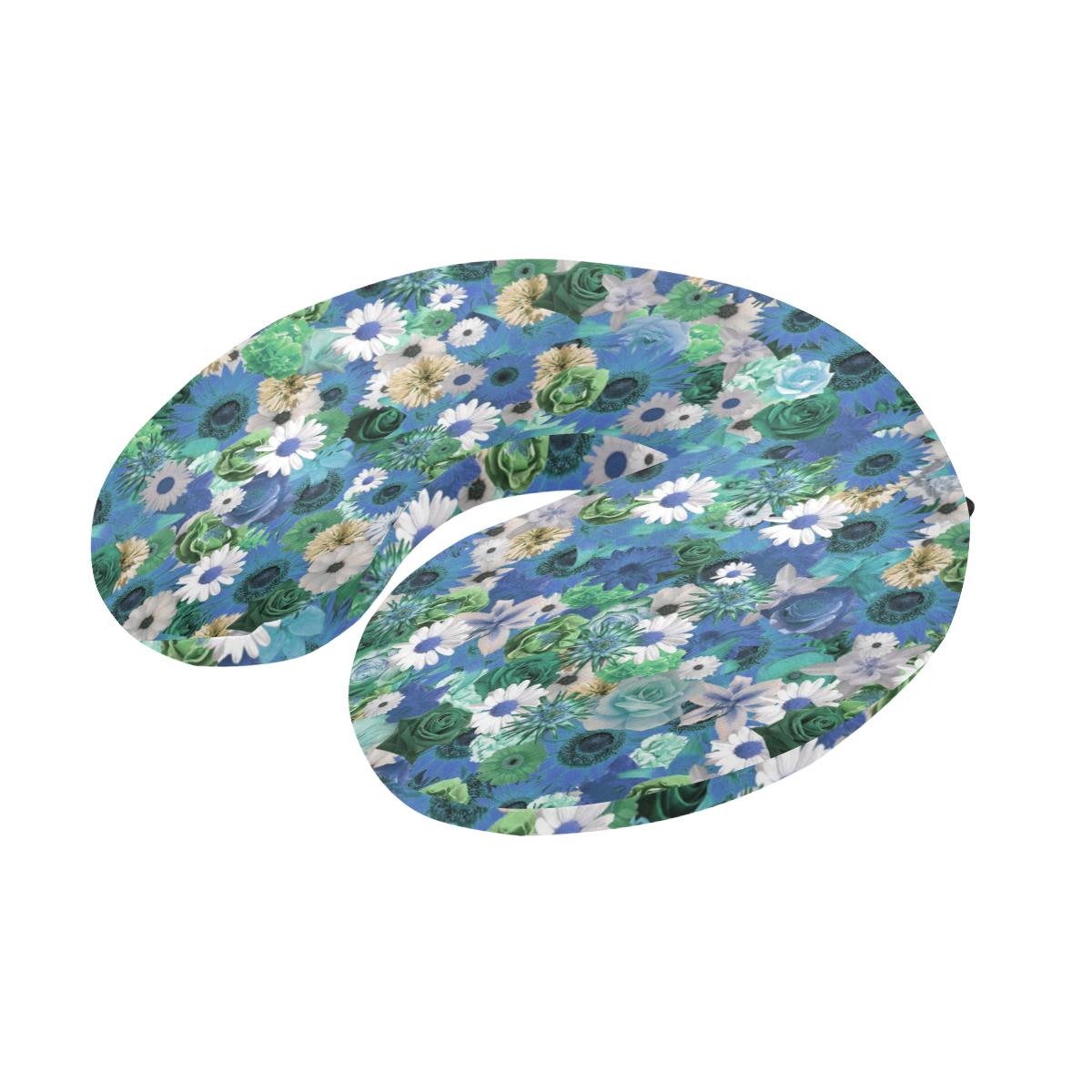 Turquoise Gold Fantasy Garden U-Shape Travel Pillow