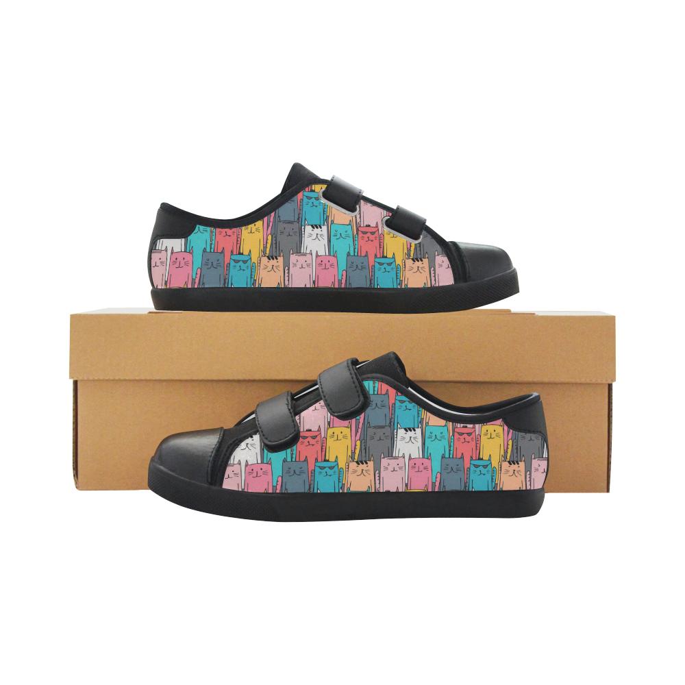 Cartoon Cat Pattern Velcro Canvas Kid's Shoes (Model 008)