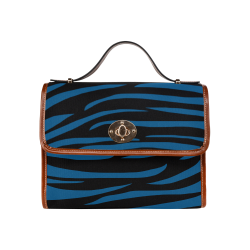 Tiger Stripes Black and Classic Blue Waterproof Canvas Bag/All Over Print (Model 1641)