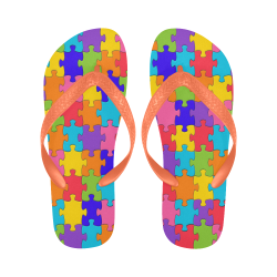 Rainbow Jigsaw Puzzle Flip Flops for Men/Women (Model 040)