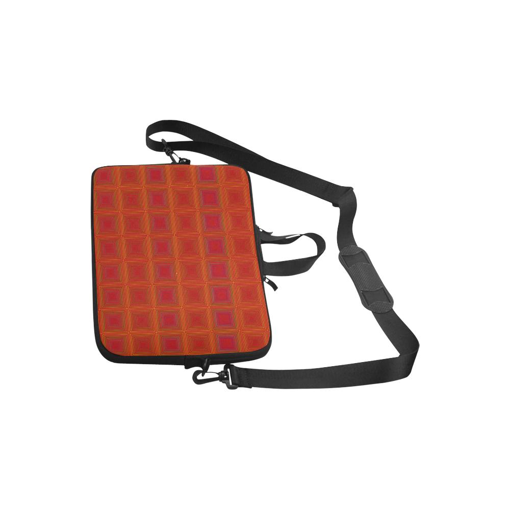 "Red orange golden multicolored multiple squares Laptop Handbags 10"""
