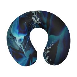 Floral design, blue colors U-Shape Travel Pillow