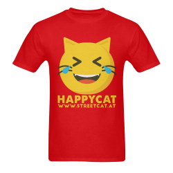 Happycat_men_red Men's T-Shirt in USA Size (Two Sides Printing)