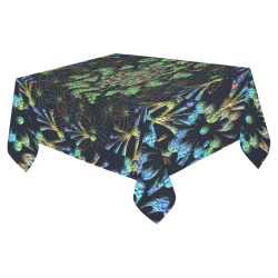"Black Russian Flora Cotton Linen Tablecloth 52""x 70"""