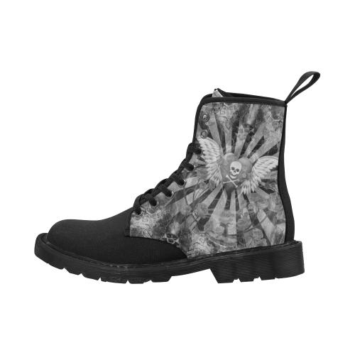 Men's Music Boots Skull Net Gothic Print Martin Boots for Men (Black) (Model 1203H)