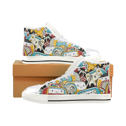 Cute Radio Retro High Top Canvas Shoes for Kid (Model 017)