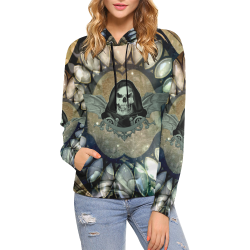 Awesome scary skull All Over Print Hoodie for Women (USA Size) (Model H13)