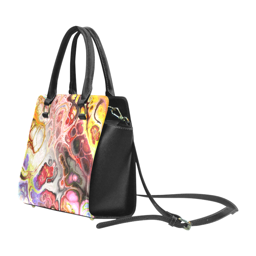 Colorful Marble Design Classic Shoulder Handbag (Model 1653)
