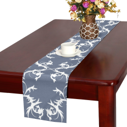 Grey damask Table Runner 14x72 inch