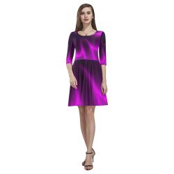 Purple Blossom Tethys Half-Sleeve Skater Dress(Model D20)