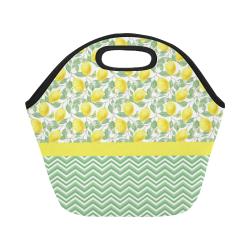 Lemons With Chevron 2 Neoprene Lunch Bag/Small (Model 1669)