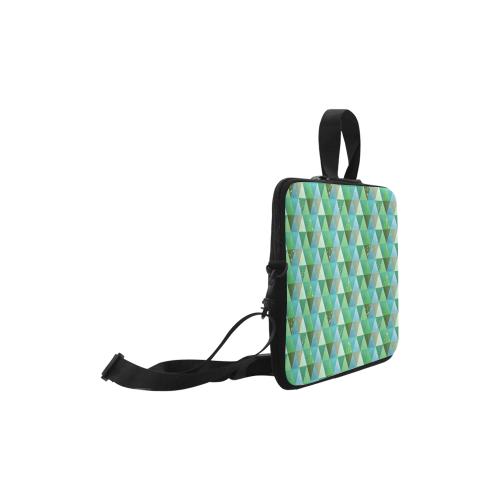 "Triangle Pattern - Green Teal Khaki Moss Laptop Handbags 10"""