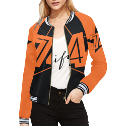 Dundealent 5 stars I Black/Orange All Over Print Bomber Jacket for Women (Model H21)