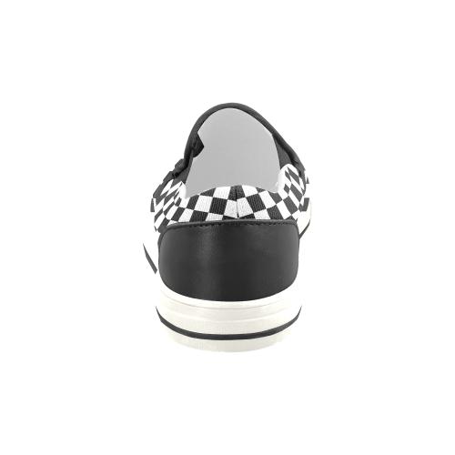 Chequered Ska Punk 2Tone by ArtformDesigns Men's Slip-on Canvas Shoes (Model 019)