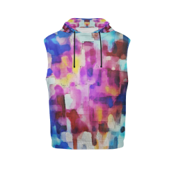 Blue pink watercolors All Over Print Sleeveless Hoodie for Women (Model H15)