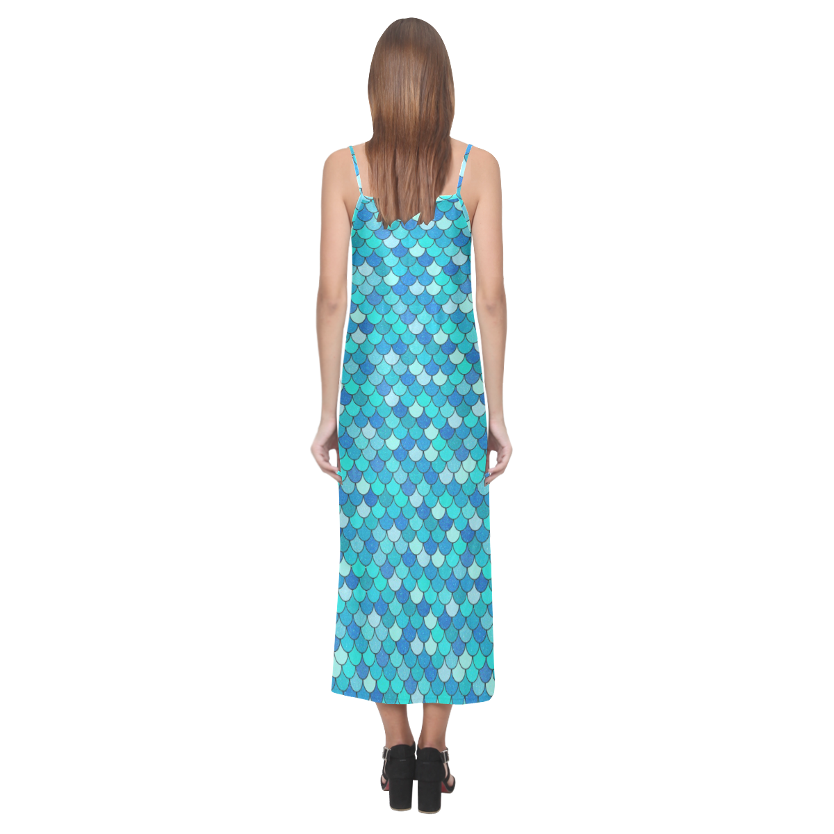 Sparklicious Aqua Mermaid V-Neck Open Fork Long Dress(Model D18)