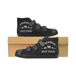 Friends Not Food (Go Vegan) Velcro High Top Canvas Kid's Shoes (Model 015)