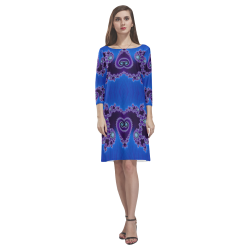 Blue Hearts and Lace Fractal Abstract 2 Rhea Loose Round Neck Dress(Model D22)