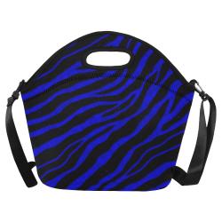 Ripped SpaceTime Stripes - Blue Neoprene Lunch Bag/Large (Model 1669)